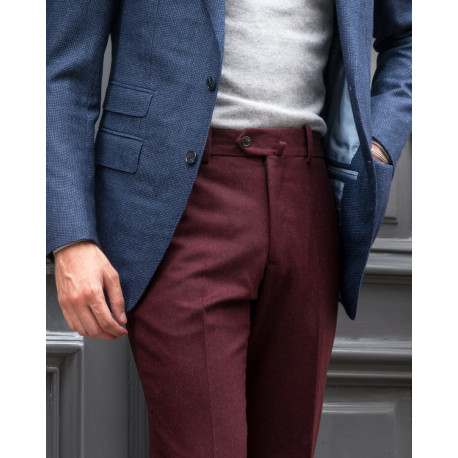Classic cut – Plain flannel trousers - Burgundy