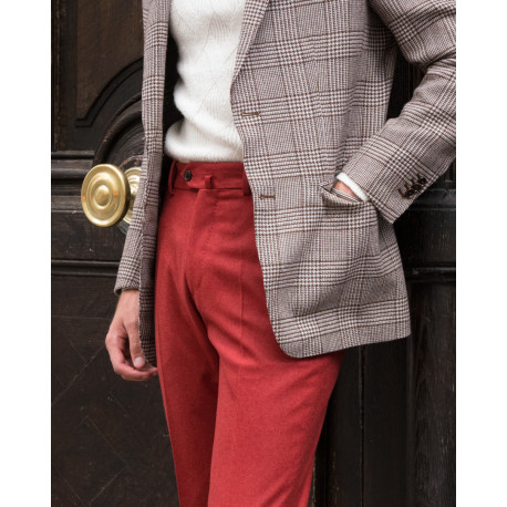 Classic cut – Plain flannel trousers - Corail