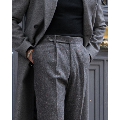 S3 / One Pleat - Donegal Tweed - Grey