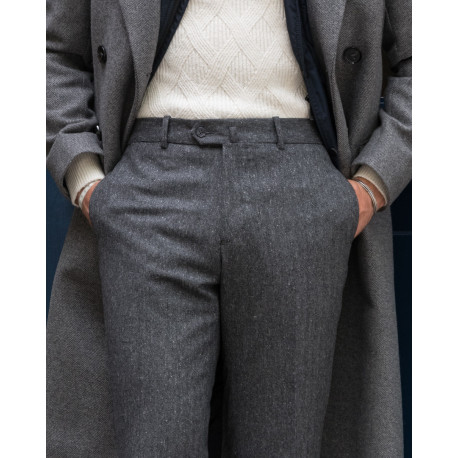 Fit cut - Herringbone tweed trousers - Grey