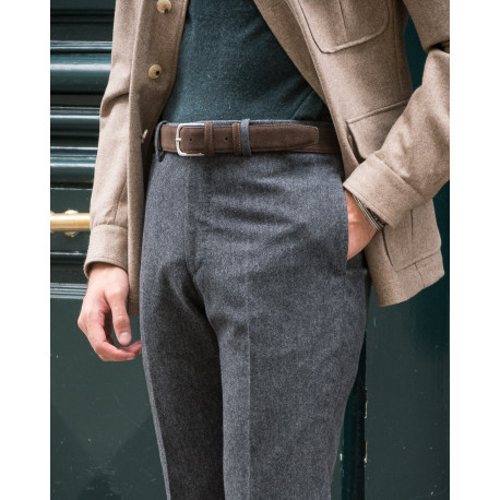 S2 / Coupe Classique - Tweed Donegal Fin Laine & Cachemire - Gris Anthracite